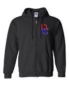 DC LEFT CHEST BLACK REGULAR FULL ZIP HOODIE SWEATSHIRT