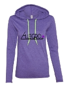PURPLE LONG SLEEVE TEE W/HOOD