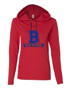 B RED LONG SLEEVE TEE W/HOOD