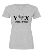 GREY LADIES V-NECK W/BLACK PRINT