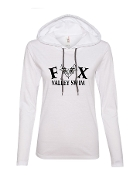 WHITE LONG SLEEVE TEE W/HOOD AND BLACK PRINT