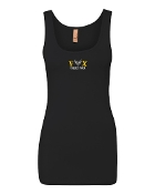 EMBROIDERED BLACK TANK W/WHITE AND GOLD LOGO