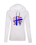 3 UP 3 DOWN BAT WHITE LONG SLEEVE TEE W/HOOD