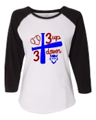 3 UP 3 DOWN BAT WHITE BASEBALL