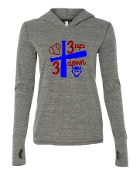 3 UP 3 DOWN BAT GREY TRIBLEND LONG SLEEVE HOOD W/THUMBHOLES