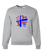 3 UP 3 DOWN BAT GREY CREW SWEATSHIRT