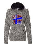 3 UP 3 DOWN BAT GREY LADIES COSMIC SWEATSHIRT W/THUMBHOLES