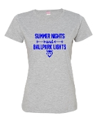 SUMMER NIGHTS GREY LADIES CREW TEE