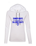 SUMMER NIGHTS WHITE LONG SLEEVE TEE W/HOOD