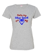 BLUE DEVIL GIRL GREY LADIES CREW TEE