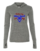 BLUE DEVIL GIRL GREY TRIBLEND LONG SLEEVE HOOD W/THUMBHOLES