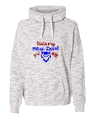 BLUE DEVIL GIRL WHITE LADIES MELANGE COWLNECK