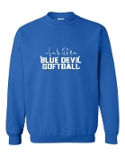 HEART BEAT ROYAL CREW SWEATSHIRT