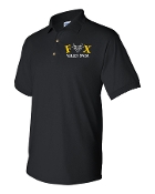 EMBROIDERED BLACK POLO W/WHITE AND GOLD LOGO