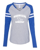 CURVED GREY/ROYAL LADIES MASH UP LONG SLEEVE