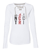#1 DESIGN WHITE LADIES LACE UP LONG SLEEVE