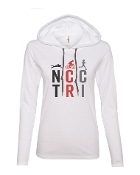 #1 DESIGN WHITE LONG SLEEVE TEE W/HOOD